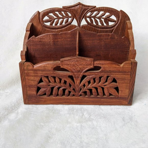 Other - Vintage Indian Hand Carved Wooden Floral Organizer